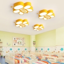 Yellow Bee LED Ceiling Light Contemporary Kid's Bedroom Acrylic Lampshade Flush Mount