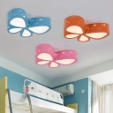 Bedroom LED Flush Light Modern Blue/Orange/Pink Decorative Butterfly Ceiling Lamp Acrylic