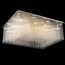 Rectangular Stainless Steel Canopy and Dazzling Crystal Balls Flush Mount Lighting