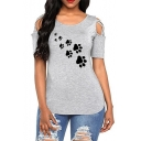 Hollow Out Short Sleeve Round Neck Paw Printed Leisure Tee