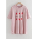 HAPPY Letter Strawberry Printed Round Neck Short Sleeve Tee