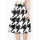 Houndstooth Printed Flare Midi A-Line Skirt