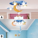 Wooden Bunny/Monkey Flush Mount Modern Amusement Park Bedroom 5 Lights LED Ceiling Flush Mount