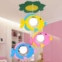 Lovely Fish 3 Bulbs Suspension Light White Glass Pendant Lamp for Kindergarten Nursing Room
