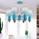Creative Pencil Design Hanging Light with Blue Fabric Shade Boys Room 6 Lights Suspended Lamp