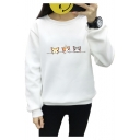 Three Cats Printed Round Neck Long Sleeve Sweatshirt