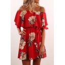 Tied Waist Floral Printed Off The Shoulder Short Sleeve Mini A-Line Dress