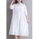 Plaid Printed Lapel Collar Half Sleeve Midi A-Line Dress