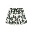 Top Stylish Men's White Palm Tree Pattern Swim Trunks with Pockets and Mesh Liner