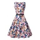 Retro Floral Printed Round Neck Sleeveless Midi A-Line Dress