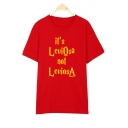 IT IS Letter Printed Round Neck Short Sleeve Tee