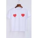 Heart Printed Round Neck Short Sleeve Tee
