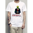 AMERICA Letter Character Printed Round Neck Short Sleeve Tee