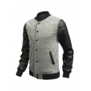 Color Block PU Patchwork Single Breasted Stand Up Collar Baseball Jacket