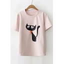 Leisure Loose Cat Printed Round Neck Short Sleeve Tee