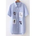Lapel Collar Striped Printed Cat Embroidered Short Sleeve Tunic Buttons Down Shirt