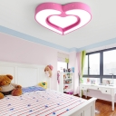 Lovely Acrylic Heart LED Flushmount Modern Design Girls Bedroom LED Ceiling Light in Pink