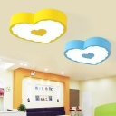 Heart Shade LED Flush Mount Blue/Yellow Acrylic Ceiling Lamp for Children's Amusement Park