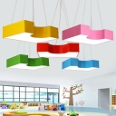 Contemporary Geometric LED Lighting Fixture Colorful Decorative Acrylic Hanging Lamp for Kindergarten