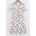 V Neck Short Sleeve Floral Printed Mini A-Line Dress