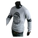 Dog Pentagram Printed Round Neck Long Sleeve Slim Sweatshirt