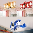 Biplane Shape Suspended Lamp Kindergarten Glass Shade 4 Lights Chandelier Lamp in Blue/Wood/Red
