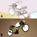 Motorcycle 3 Lights Hanging Light Black/Silver Metal Suspended Lamp for Game Room Kindergarten