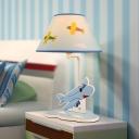 White Finish Airplane Table Lighting Metallic 1 Bulb Decorative Reading Light for Living Room