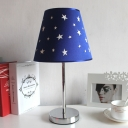 Chrome Finish Starry Design Table Lamp Fabric Shade 1 Head Standing Table Light for Bedside Study Room