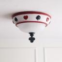 Unique 1 Head Bowl Flushmount Modernism Kids Room Foyer White Glass Decorative Ceiling Lamp