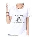 FLUFF YOU Letter Unicorn Printed Round Neck Short Sleeve Tee