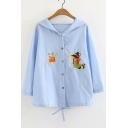 Fox Embroidered Buttons Down Long Sleeve Hooded Sun Proof Coat