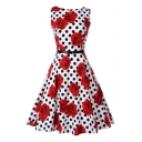Floral Polka Dot Printed Round Neck Sleeveless Midi A-Line Dress