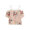 Lace Insert Cold Shoulder Short Sleeve Floral Printed Blouse
