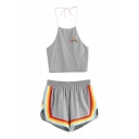 Rainbow Striped Printed Halter Sleeveless Crop Cami with Elastic Waist Loose Shorts Co-ords