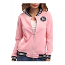 Contrast Striped M Letter Badge Embellished Long Sleeve Zip Up Jacket