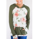 Color Block Floral Printed Long Sleeve Leisure Loose Hoodie