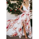 V Neck Sleeveless Floral Printed Split Front Maxi A-Line Dress