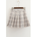 Chic Plaid Printed Zipper Fly Mini Pleated Skirt