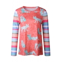 Animal Contrast Striped Printed Long Sleeve Round Neck Leisure Tee