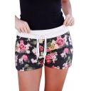 Floral Printed Drawstring Waist Leisure Shorts