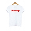 PEACHY Letter Printed Round Neck Short Sleeve Tee