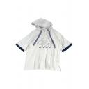 Bear Chinese Letter Printed Plaid Drawstring Hood Short Sleeve Hooded Tee