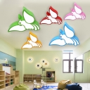 Cute Cartoon Parrot Flushmount Nursing Room Acrylic LED Ceiling Flush Mount in White/Third Gear