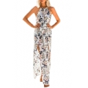 Holiday Floral Printed Sleeveless Split Front Maxi Cami Beach Dress