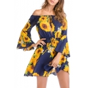 Off The Shoulder Floral Printed Long Sleeve Drawstring Waist Mini A-Line Dress