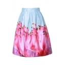 Retro Color Block Flamingo Printed Midi A-Line Skirt