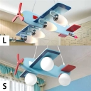 Sky Blue Plane Shape Suspended Lamp Wooden 3/4 Lights Chandelier Light for Amusement Park