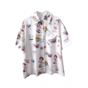 Lapel Collar Cartoon Character Letter Printed Buttons Down Short Sleeve Shirt