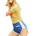 Sports Color Block Elastic Waist Leisure Shorts